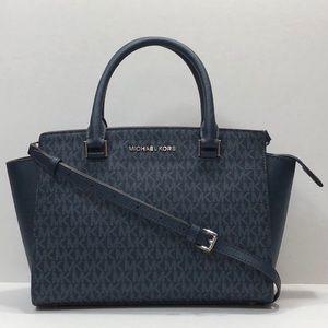 Michael Kors medium navy blue logo satchel bag